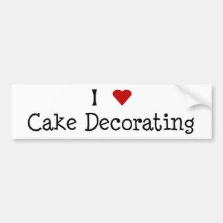 I Heart Cake Decorating Bumper Sticker Car Bumper Sticker