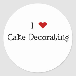 I Heart Cake Decorating Round Stickers