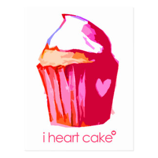 i heart cake Postcard (with text)
