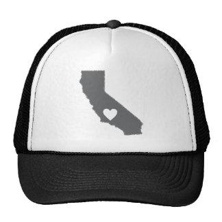 I Heart California Grunge Look Outline State Love Trucker Hats