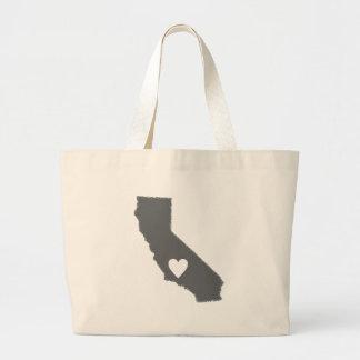 I Heart California Grunge Look Outline State Love Jumbo Tote Bag