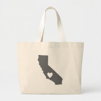 I Heart California Grunge Look Outline State Love Large Tote Bag