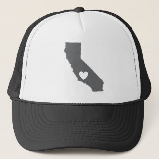 I Heart California Grunge Look Outline State Love Trucker Hat