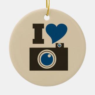 I Heart Camera Ceramic Ornament