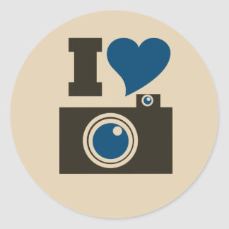 I Heart Camera Classic Round Sticker