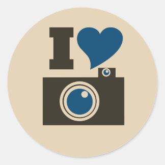 I Heart Camera Classic Round Sticker