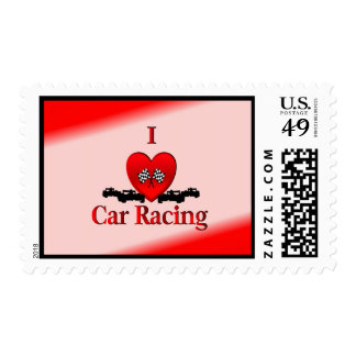 I Heart Car Racing Stamps