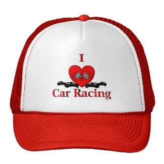 I Heart Car Racing Trucker Cap Hat