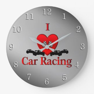 I Heart Car Racing Wall Clock