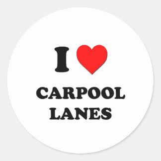 I Heart Carpool Lanes Classic Round Sticker