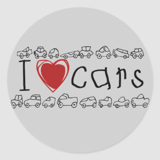 I Heart Cars Tshirts and Gifts Classic Round Sticker