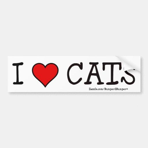 I HEART CATS CAR BUMPER STICKER