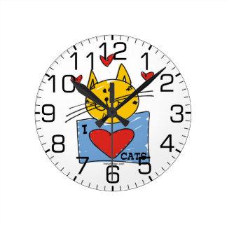 I Heart Cats Round Wall Clocks