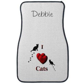 I Heart Cats Custom Name Floor Mats Car Mat