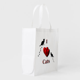 I Heart Cats Grocery Bag
