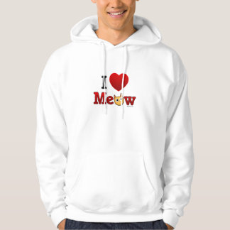 """I Heart Cats"" ""I Love Cats"" Meow Hoodie Shirt"