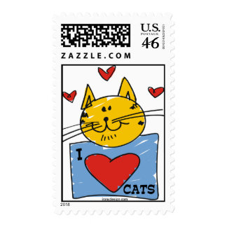 I Heart Cats Postage Stamp