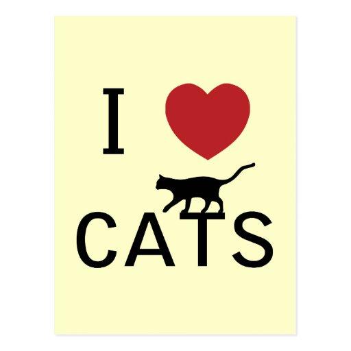 i heart cats postcards