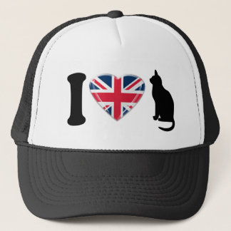 I Heart Cats with 3D Union Jack Heart Design Trucker Hat
