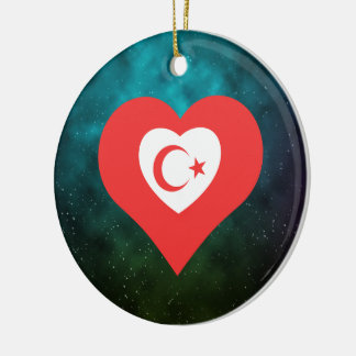 I Heart Celestial Bodies Icon Double-Sided Ceramic Round Christmas Ornament