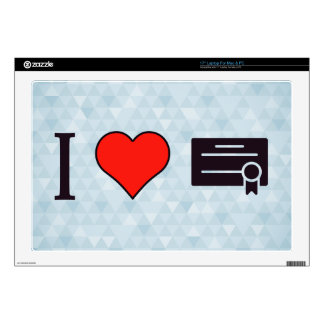 "I Heart Certificates Decals For 17"" Laptops"