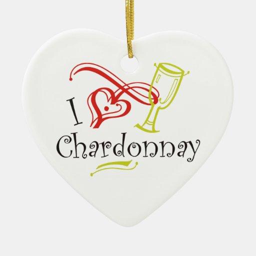 I Heart Chardonnay Christmas Tree Ornament