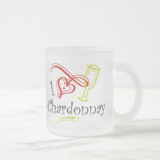 I Heart Chardonnay Frosted Glass Coffee Mug