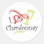 I Heart Chardonnay Round Sticker