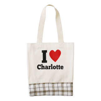 I Heart Charlotte Zazzle HEART Tote Bag