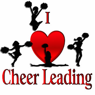 I Heart Cheer Leading Photo Cut Out