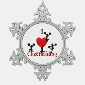 I Heart Cheerleading Pewter Snowflake Ornament