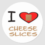 I Heart Cheese slices Classic Round Sticker