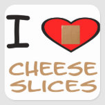 I Heart Cheese slices Square Sticker