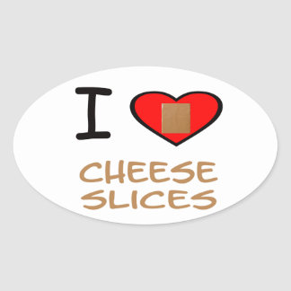 I Heart Cheese slices Oval Sticker