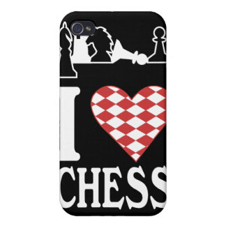 I Heart Chess Light, TCC_pieces_white iPhone 4/4S Covers