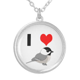 I heart Chickadees Silver Plated Necklace