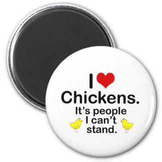 I (Heart) Chickens 2 Inch Round Magnet