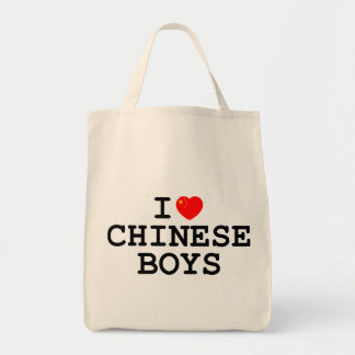 I Heart Chinese Boys Grocery Tote Bag