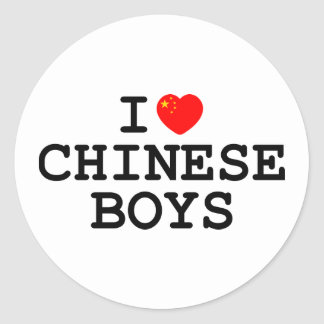 I Heart Chinese Boys Classic Round Sticker