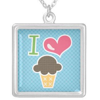 I Heart Chocolate Ice Cream Necklace Blue