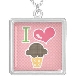 I Heart Chocolate Ice Cream Necklace Pink
