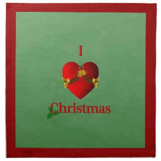 I Heart Christmas Red and Green Cloth Napkin
