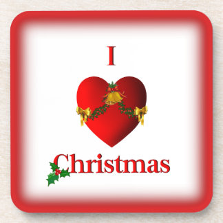 I Heart Christmas Square Coasters