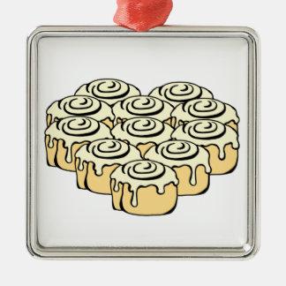 I Heart Cinnamon Rolls Sweet Love Buns Cartoon Metal Ornament