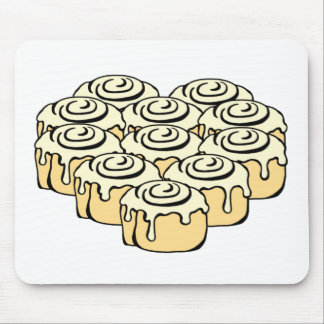 I Heart Cinnamon Rolls Sweet Love Buns Cartoon Mouse Pad