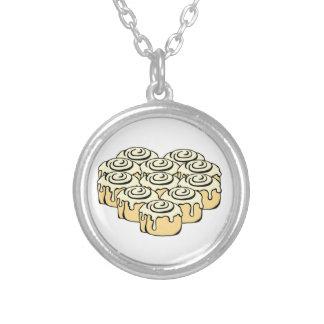 I Heart Cinnamon Rolls Sweet Love Buns Cartoon Silver Plated Necklace