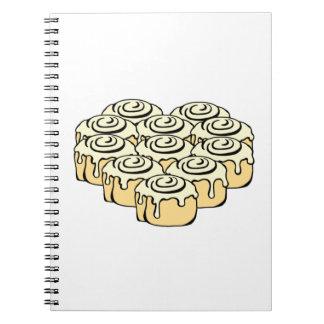 I Heart Cinnamon Rolls Sweet Love Buns Cartoon Spiral Notebook