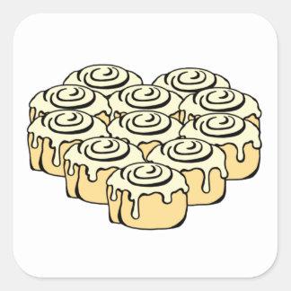 I Heart Cinnamon Rolls Sweet Love Buns Cartoon Square Sticker