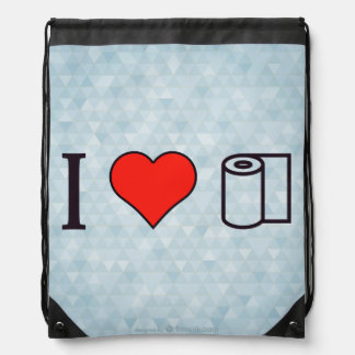 I Heart Cleaning Up Spills Drawstring Backpack