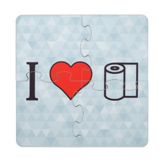 I Heart Cleaning Up Spills Puzzle Coaster